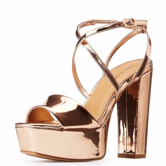 ecb12024e33 Rose Gold Metallic Strappy Platform Disco Sandals